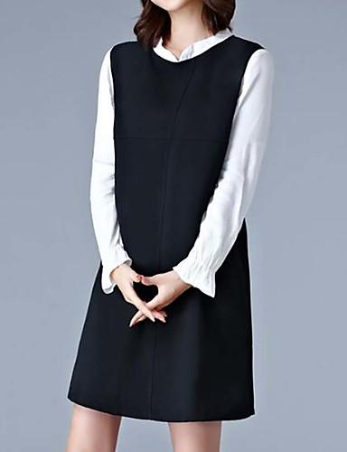 Damen Übergrössen Lose Kleid Solide
