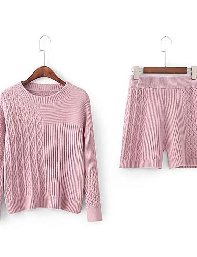 Damen Solide Einfach Niedlich Aktiv Ausgehen Lässig/Alltäglich Strand T-shirt Hose Anzüge,Rundhalsausschnitt Frühling Herbst Langärmelige