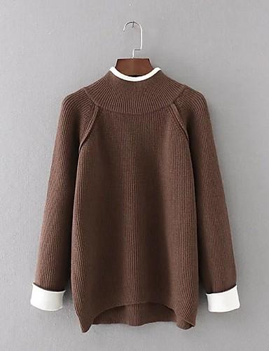 Damen Standard Pullover-Ausgehen Lässig/Alltäglich Einfach Niedlich Solide Rundhalsausschnitt Langarm Baumwolle Frühling Herbst Dünn