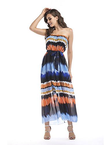 960ab1e31 صيف بوليستر بدون كم طويل للأرض باتو طباعة فستان فضفاض غمد شيفون مثيرة بوهو  أناقة الشارع