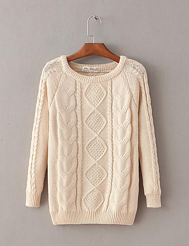 Damen Standard Pullover-Ausgehen Lässig/Alltäglich Einfach Street Schick Solide Rundhalsausschnitt Langarm Wolle Baumwolle Winter Herbst