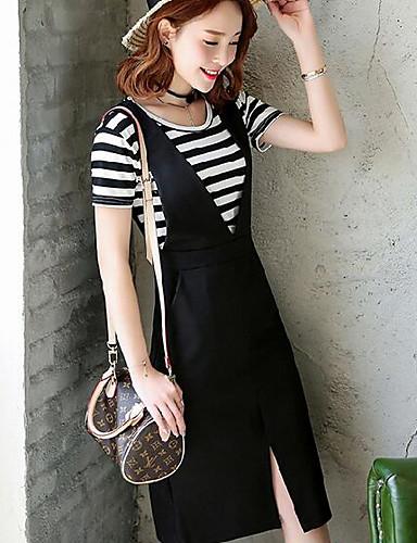 Damen Hülle Kleid-Lässig/Alltäglich Solide Gestreift Rundhalsausschnitt Midi Kurzarm Baumwolle Sommer Mittlere Hüfthöhe Mikro-elastisch