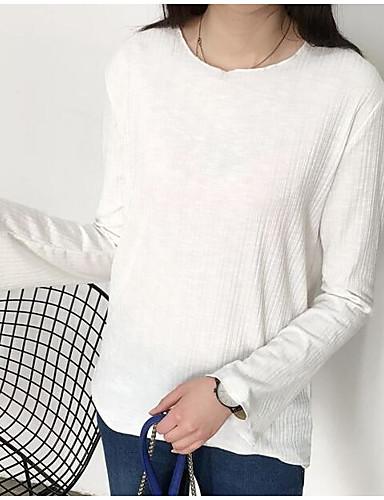 Damen Pullover Lässig/Alltäglich Einfach Solide Buchstabe Rundhalsausschnitt Mikro-elastisch Baumwolle Polyester Lange ÄrmelFrühling
