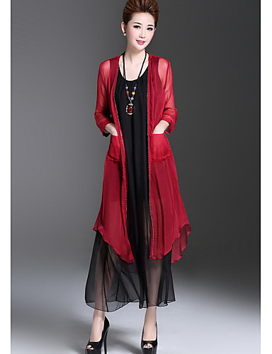 Damen Solide Einfach Lässig/Alltäglich Trench Coat,Rundhalsausschnitt Herbst ¾ Ärmel Lang Polyester