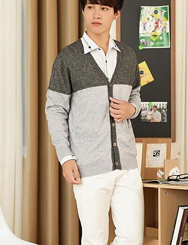 Herren Standard Strickjacke-Lässig/Alltäglich Einfach Einfarbig Hemdkragen Langarm Wolle Herbst Mittel Mikro-elastisch