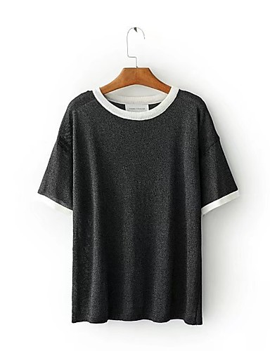 Damen Solide Einfach Niedlich Aktiv Sport Ausgehen Lässig/Alltäglich T-shirt,Rundhalsausschnitt Sommer Herbst Kurzarm Baumwolle Dünn