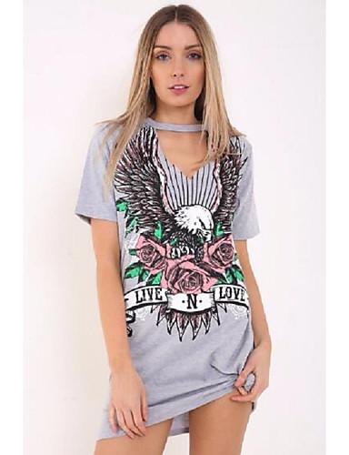 Damen T Shirt Kleid-Ausgehen Lässig/Alltäglich Solide Druck V-Ausschnitt Übers Knie Kurzarm Baumwolle Sommer Mittlere Hüfthöhe
