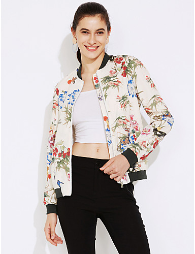 女性 お出かけ 秋 / 冬 フラワー ジャケット,ストリートファッション スタンド ホワイト ポリエステル 長袖 ミディアム