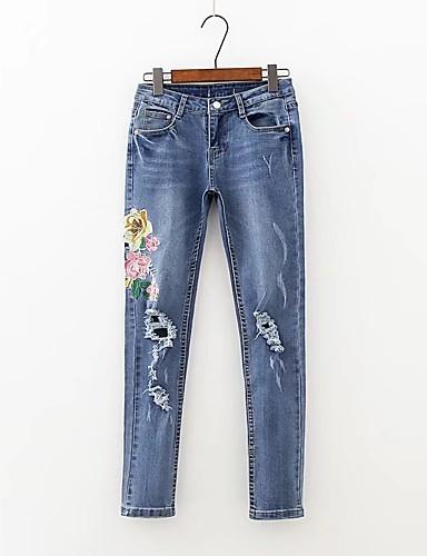 Damen Street Schick Mittlere Hüfthöhe Mikro-elastisch Eng Jeans Hose,Andere Ganzjährig Stickerei