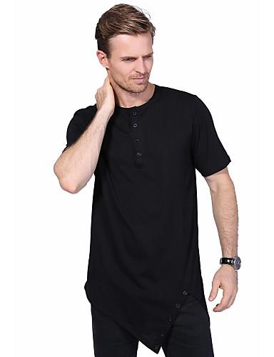 Herren Solide Street Schick Lässig/Alltäglich Übergröße T-shirt,Rundhalsausschnitt Sommer Kurzarm Baumwolle Elasthan Mittel