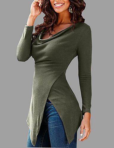 Damen Solide Sexy Lässig/Alltäglich T-shirt,V-Ausschnitt Herbst Langarm Baumwolle Mittel