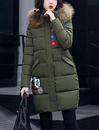 Damen Gefüttert Mantel,Standard Street Schick Ausgehen Lässig/Alltäglich Übergröße Solide-Nylon Polypropylen Langarm
