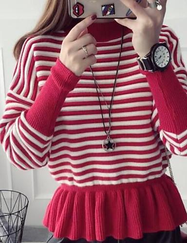 Damen Standard Pullover-Lässig/Alltäglich Solide Gestreift Rollkragen Langarm Baumwolle Leinen Herbst Mittel Mikro-elastisch