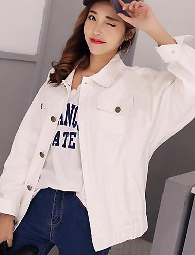 Damen Solide Einfach Lässig/Alltäglich Jacke,Hemdkragen Frühling Herbst Lange Ärmel Standard Polyester