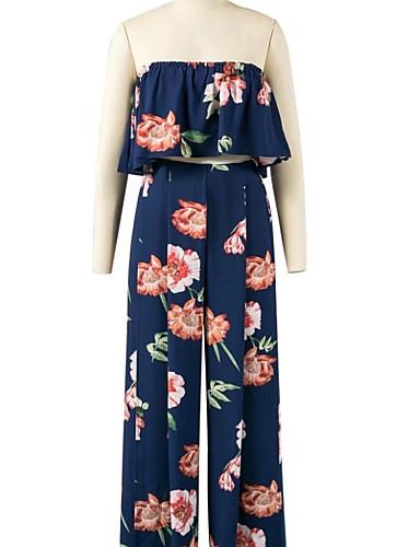 Damen Druck Einfach Niedlich Aktiv Ausgehen Strand Bluse Hose Anzüge,Trägerlos Sommer Ärmellos Baumwolle Mikro-elastisch