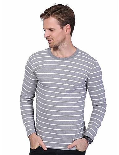 Herren Gestreift Einfach Lässig/Alltäglich Übergröße T-shirt,Rundhalsausschnitt Frühling Herbst Langarm Baumwolle Elasthan Mittel