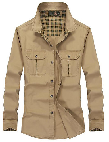 Men's Street chic / Military Cotton Slim Shirt - Solid Colored Spread Collar / Long Sleeve