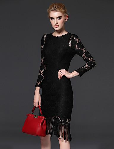 FRMZ Women's Street chic Sheath Dress - Solid Colored Lace / Slim