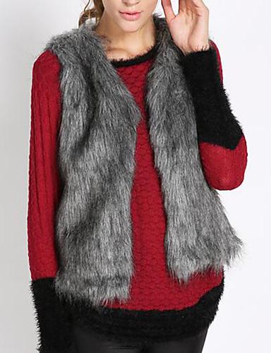 Damen Solide Einfarbig Einfach Retro Freizeit Alltag Arbeit Übergrössen Kurz Weste, Rundhalsausschnitt Winter Kunst-Pelz