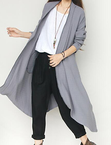 Women's Simple Trench Coat - Solid Colored V Neck / Fall