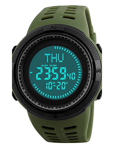 SKMEI Men's Sport Watch / Wrist Watch / Digital Watch Japanese Alarm / Calendar / date / day / Chronograph PU Band Black / Green / Water Resistant / Water Proof / Compass / Luminous / Stopwatch