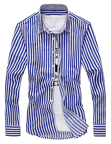 Men's Casual Plus Size Cotton Slim Shirt - Striped / Long Sleeve