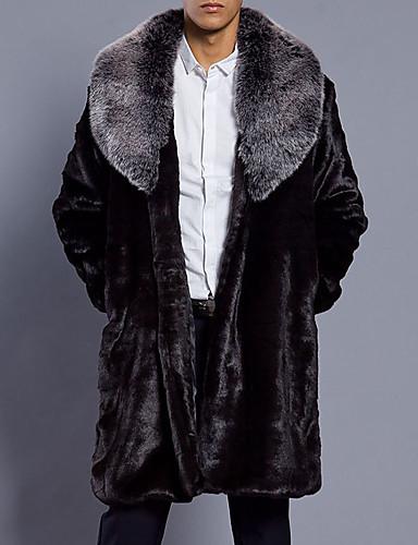 Ανδρικά Καθημερινά Φθινόπωρο   Χειμώνας Μεγάλα Μεγέθη Μακρύ Γούνινο παλτό 3e3843d7b31