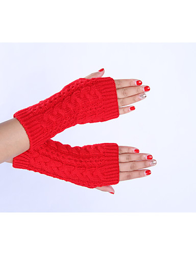 Women's Winter Gloves Wrist Length Half Finger Gloves - Solid Colored