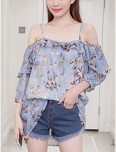 Women's Going out Blouse - Floral Boat Neck