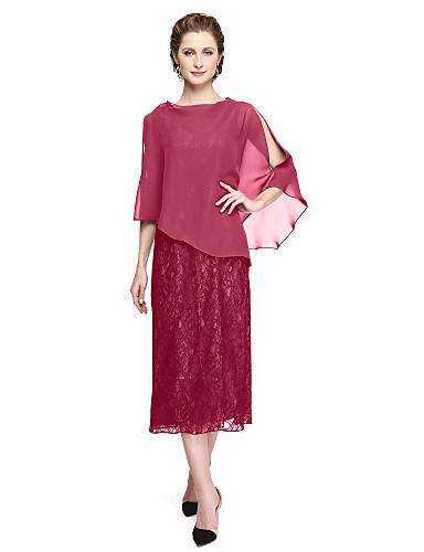 A-الخط جوهرة طول الساق شيفون / دانتيل فستان أم العروس مع زينة / طيات بواسطة LAN TING BRIDE®