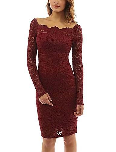 edf71c75e43 Women s Off Shoulder Plus Size Party Holiday Going out Sexy Elegant Bodycon  Dress - Solid Colored Lace Off Shoulder Spring Purple Wine Royal Blue XL  XXL ...