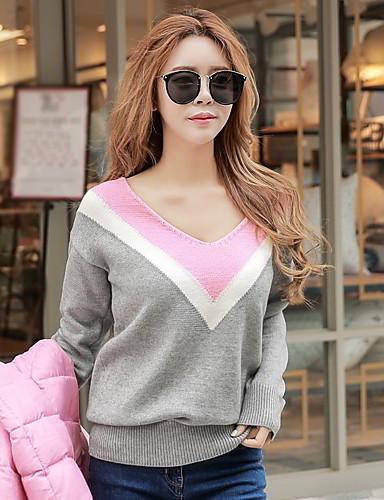 Недорогие Распродажа лучших свитеров-Жен. На выход Винтаж Пуловер - Контрастных цветов V-образный вырез