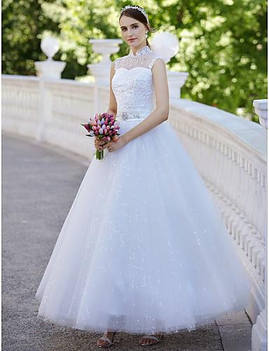 Balo Abiyesi Illüzyon boyun çizgisi Bilek Boyu Tül Payet Aplik ile Düğün elbisesi tarafından QQC Bridal
