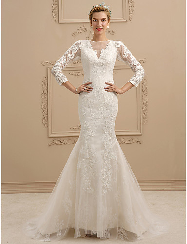 Mermaid / Trumpet V Neck Sweep / Brush Train Lace / Tulle Made-To-Measure Wedding Dresses with Appliques / Buttons by LAN TING BRIDE® / Illusion Sleeve / See-Through