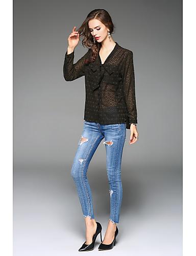 Damen Arbeit Hemd, V-Ausschnitt Schleife Druck Polyester