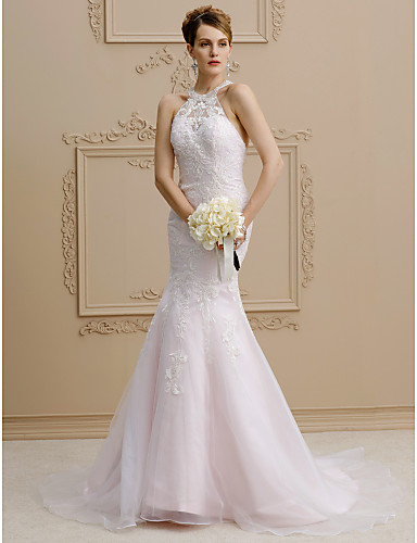 Mermaid / Trumpet Halter Neck Court Train Lace / Organza / Satin Custom Wedding Dresses with Beading / Appliques by LAN TING BRIDE®