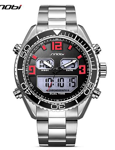 SINOBI Férfi Sportos óra Karóra Japán Digitális 30 m Naptár LED Két időzóna Rozsdamentes acél Zenekar Analóg - Digitális Luxus Alkalmi Ezüst - Ezüst / Piros / Ütésálló / Világítás / Nagy számlap