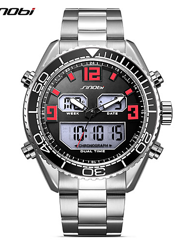 SINOBI Men's Sport Watch Wrist Watch Japanese Digital 30 m Calendar / date / day LED Dual Time Zones Stainless Steel Band Analog-Digital Luxury Casual Silver - Silver / Red / Shock Resistant