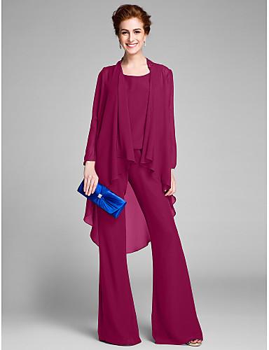 154c13815702 Ίσια Γραμμή   Ολόσωμη φόρμα Scoop Neck Μακρύ Σιφόν Φόρεμα Μητέρας της Νύφης  με Χάντρες με LAN TING BRIDE®