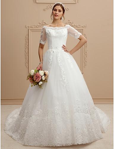 Linha A Bateau Neck Cauda Catedral Renda / Tule Vestidos de casamento feitos à medida com Renda de LAN TING BRIDE®