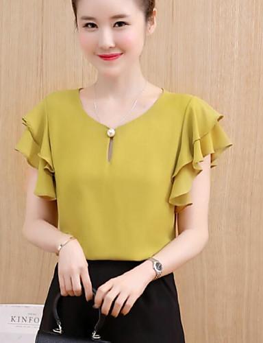 abordables Camisas y Camisetas para Mujer-Mujer Noche Algodón Blusa Un Color Rojo L