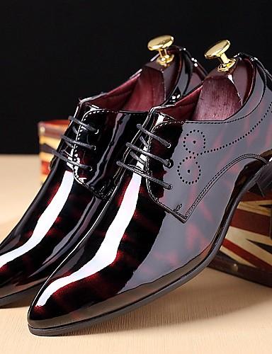 billige Oxford-sko til herrer-Herre Skrive ut Oxfords Lakklær Høst / Vinter Oxfords Svart / Burgunder / Marineblå / Fest / aften / Snøring / Fest / aften / Komfort Sko / EU40