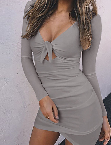 Women's Cute A Line Dress - Solid Colored V Neck