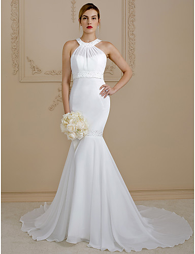 Mermaid / Trumpet Jewel Neck Court Train Chiffon Made-To-Measure Wedding Dresses with Beading by LAN TING BRIDE® / Open Back