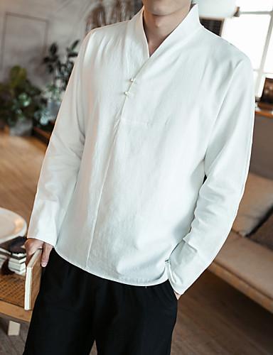 Herre - Ensfarvet Bomuld Kineseri Plusstørrelser Skjorte Hvid XXXL / Langærmet