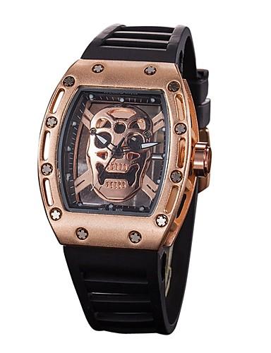 Men's Sport Watch Skeleton Watch Wrist Watch Quartz Silicone Black Water Resistant / Waterproof Chronograph Hollow Engraving Analog Casual Fashion Elegant - Silver Black / Gold Gold / Black