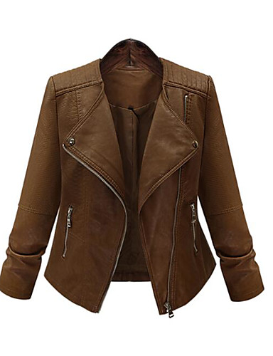 Women's Holiday Punk & Gothic Leather Jacket - Solid Colored / Fall / Winter