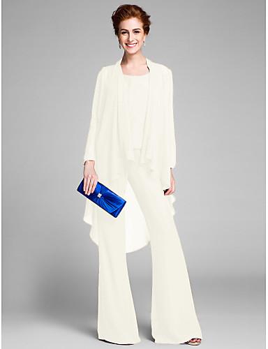 a3c8d46836 Szűk szabású / Kezeslábas Scoop nyak Földig érő Sifon Örömanya ruha val vel  Gyöngydíszítés által LAN TING BRIDE®