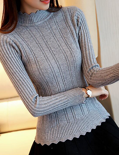 Women's Long Sleeves Slim Pullover - Solid Colored Crew Neck