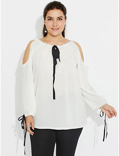 Mulheres Tamanhos Grandes Camiseta - Feriado / Para Noite Moda de Rua Frente Única / Laço, Sólido / Primavera / Outono